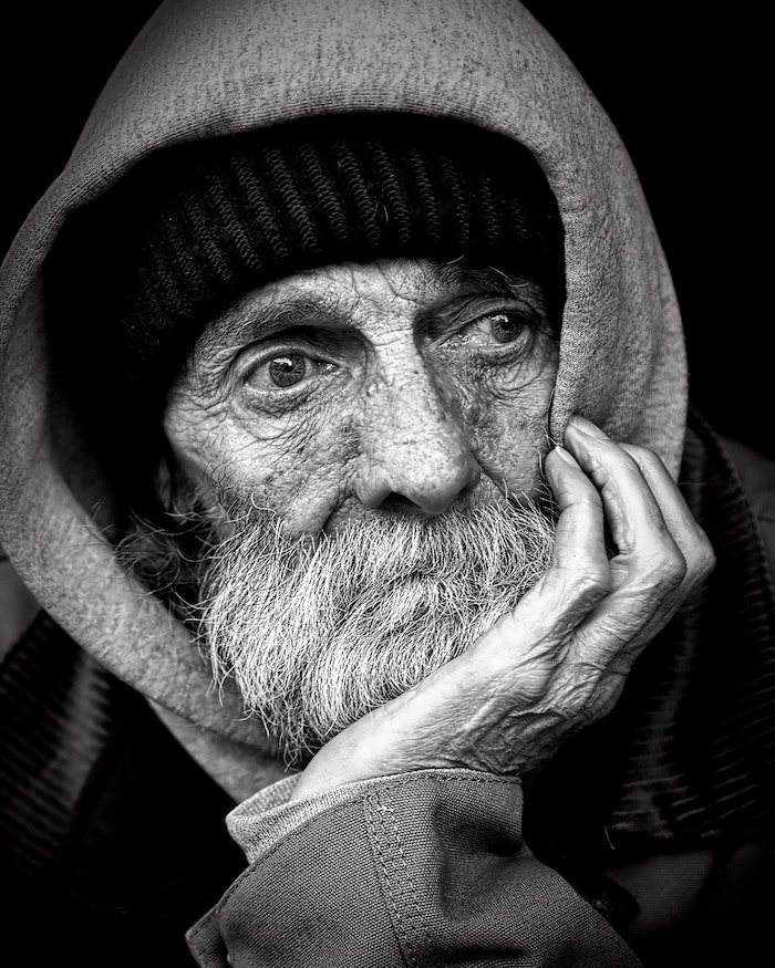 old homeless man's face